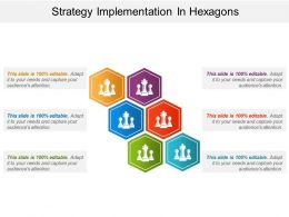 Strategy Implementation In Hexagons Ppt Background Designs
