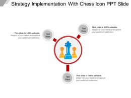 Strategy Implementation With Chess Icon Ppt Slide