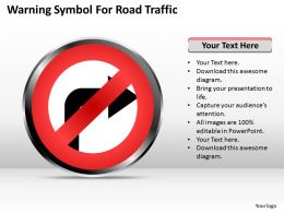 Strategy Management Consultants Warning Symbol For Road Traffic Powerpoint Templates 0528