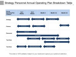Strategy Personnel Annual Operating Plan Breakdown Table