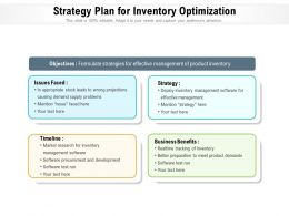 Strategy Plan For Inventory Optimization