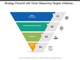 Strategy Pyramid With Vision Measuring Targets Initiatives And Action Plan