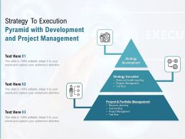 Strategy To Execution Pyramid With Development And Project Management