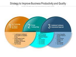Strategy To Improve Business Productivity And Quality