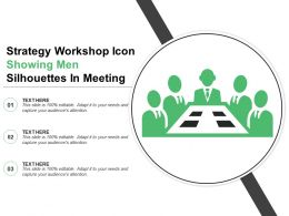 Strategy Workshop Icon Showing Men Silhouettes In Meeting