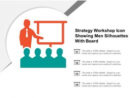 Strategy Workshop Icon Showing Men Silhouettes With Board