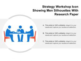 Strategy Workshop Icon Showing Men Silhouettes With Research Paper