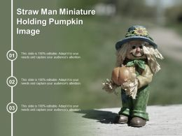 Straw Man Miniature Holding Pumpkin Image