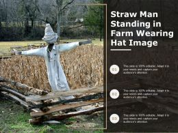 Straw Man Standing In Farm Wearing Hat Image