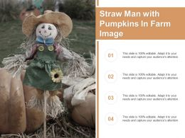 Straw Man With Pumpkins In Farm Image