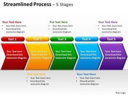 streamlined process 5 stages powerpoint diagrams presentation slides graphics 0912