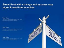 Street Post With Strategy And Success Way Signs Powerpoint Template