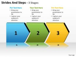 strides and steps 3 stages shown by connected arrows side by side powerpoint templates 0712