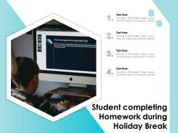 Student Completing Homework During Holiday Break