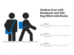 Student Icon With Backpack And Side Bag Filled With Books