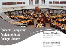 Students Completing Assignments At College Library
