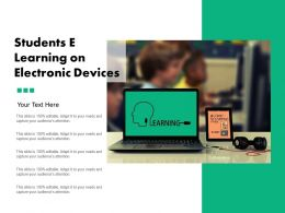 Students E Learning On Electronic Devices