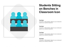 Students Sitting On Benches In Classroom Icon