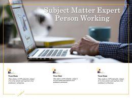 Subject Matter Expert Person Working