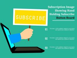 Subscription Image Showing Hand Holding Subscribe Button Board