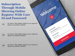Subscription Through Mobile Showing Online Register With User Id And Password