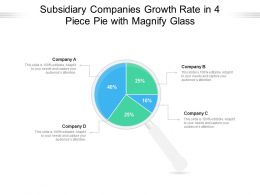 Subsidiary Companies Growth Rate In 4 Piece Pie With Magnify Glass
