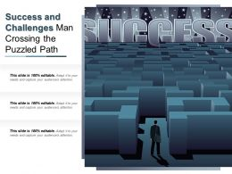 Success And Challenges Man Crossing The Puzzled Path