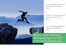 Success And Challenges Man Jumping Over Cliff To Reach The Destination