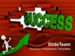 Success Coming Out From Brick Wall Powerpoint Templates PPT Themes And Graphics 0113