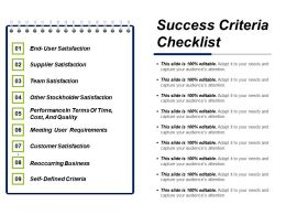 Success Criteria Checklist Ppt Diagrams