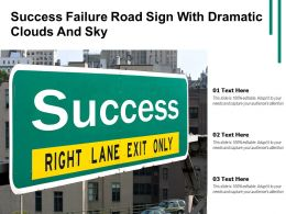 Success Failure Road Sign With Dramatic Clouds And Sky