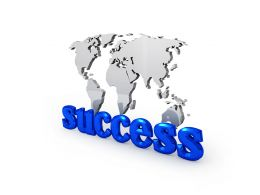 Success Graphic On World Map For Business Stock Photo