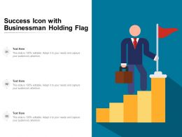 Success Icon With Businessman Holding Flag