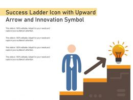 Success Ladder Icon With Upward Arrow And Innovation Symbol