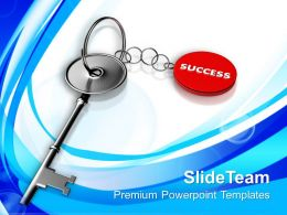 Success On Silver Key Chain PowerPoint Templates PPT Themes And Graphics 0213