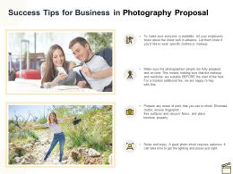 Success Tips For Business In Photography Proposal Ppt Powerpoint Presentation