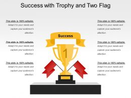 Success With Trophy And Two Flag