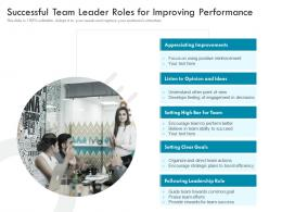 Successful Team Leader Roles For Improving Performance