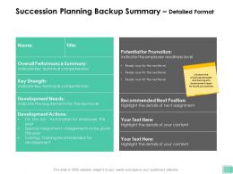 Succession Planning Backup Summary Detailed Format Key Strength Ppt Presentation Outline