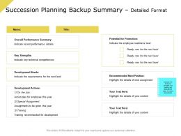 Succession Planning Backup Summary Detailed Format Overall Performance Ppt Presentation Grid