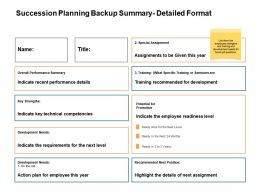Succession Planning Backup Summary Detailed Format Ppt Powerpoint Presentation Ideas Vector