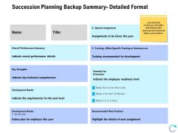 Succession Planning Backup Summary Detailed Format Ppt Slide