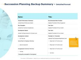 Succession Planning Backup Summary Detailed Format Recommended Next Position Ppt Slides
