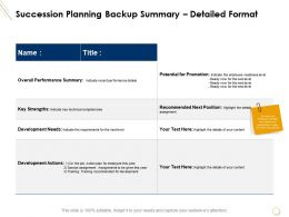 Succession Planning Backup Summary Detailed Format Recommended Ppt Presentation Summary