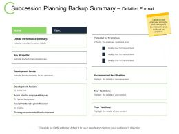 Succession Planning Backup Summary Detailed Format Technical Ppt Powerpoint Presentation File