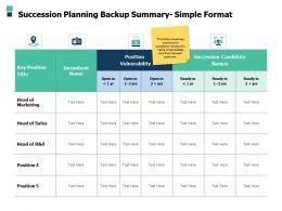 Succession Planning Backup Summary Simple Format A507 Ppt Powerpoint Presentation Model Aids