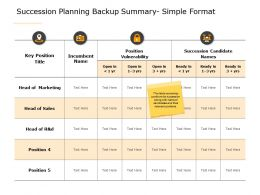 Succession Planning Backup Summary Simple Format A622 Ppt Powerpoint Presentation Slides Graphics