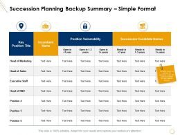 Succession Planning Backup Summary Simple Format Marketing Ppt Presentation Display