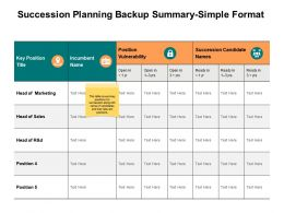 Succession Planning Backup Summary Simple Format Ppt Powerpoint Presentation Infographic Template