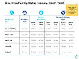 Succession Planning Backup Summary Simple Format Ppt Powerpoint